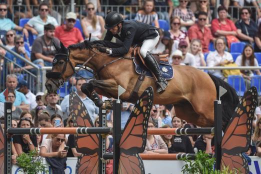 Foto: Im Höhenflug zum Sieg: Harrie Smolders und Zinius - Fotograf: equistock.de
