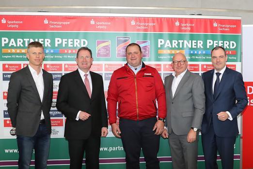 Foto: Max Kühner (AUT), Dr. Harald Langenfeld ( Vorstandsvorsitzender Sparkasse Leipzig), Georg von Stein, Volker Wulff (EN GARDE Marketing GmbH), Martin Buhl-Wagner (Geschäftsführer Messe Leipzig) - Fotograf: ACP-Fotografie-Pantel
